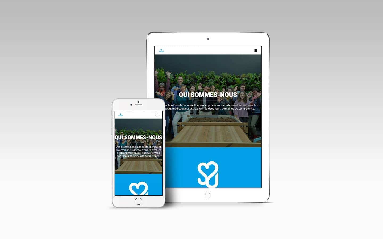 visuels responsive de création de site internet tablette et mobile PROXISANTÉ association santé webmaster bordeaux