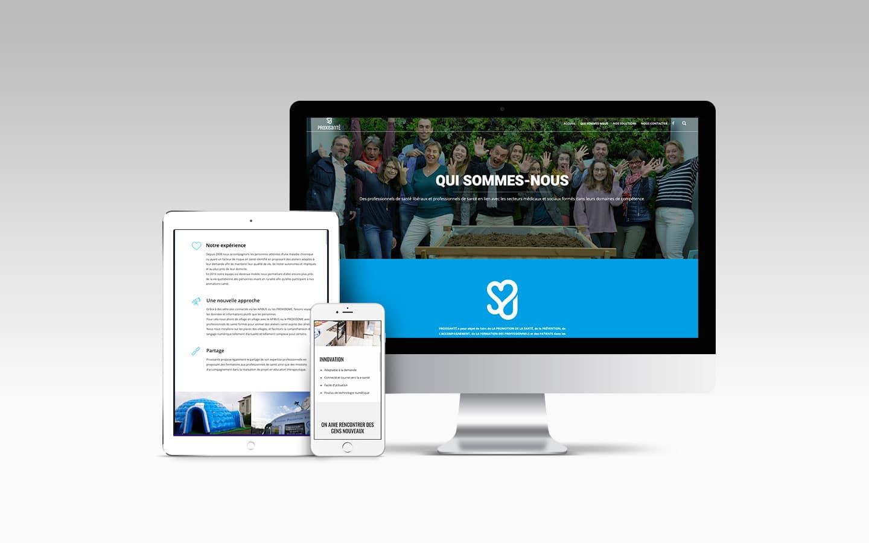 visuels création de site internet vitrine WordPress pour association Proxisanté