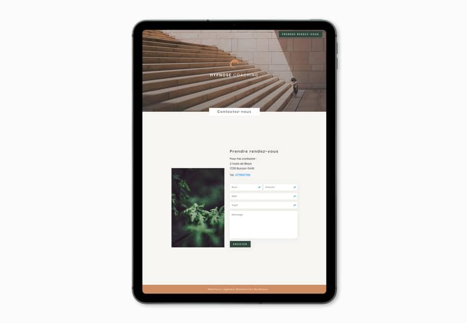 site internet responsive tablette hypnose montendre webmaster freelance