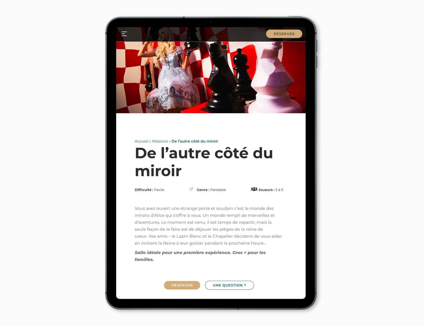 site internet responsive tablette escape game pau
