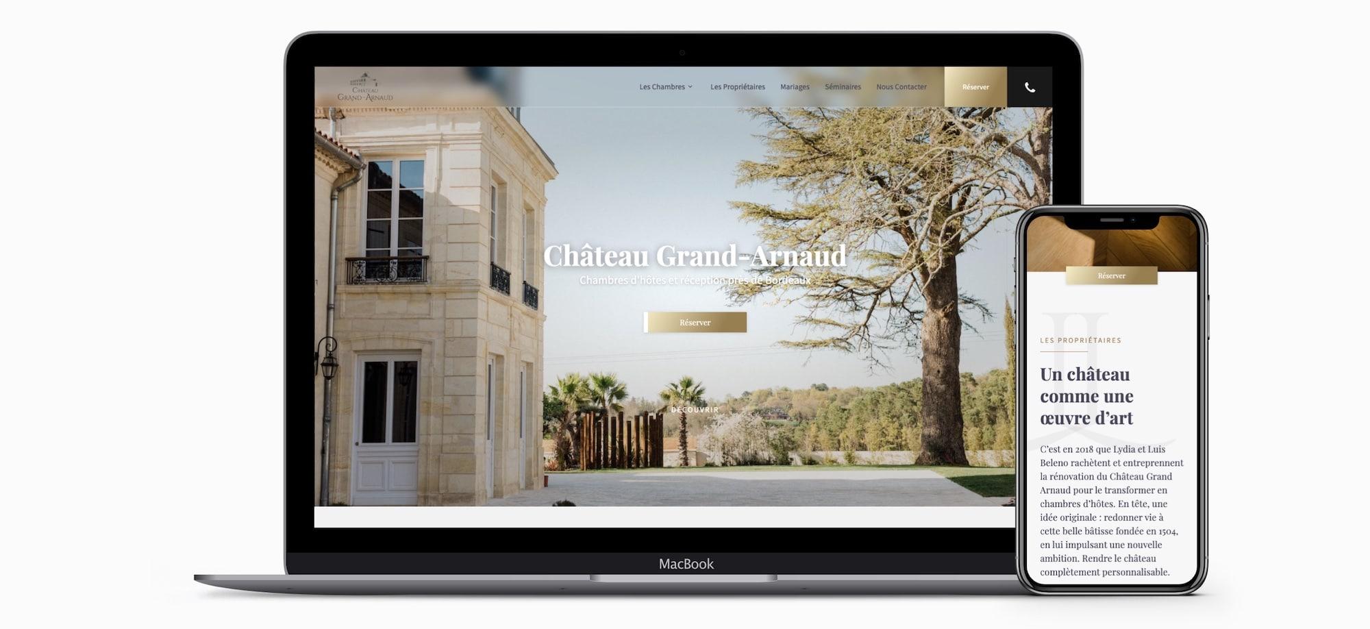 Création site internet Chambres hôtes Bordeaux Château Grand Arnaud